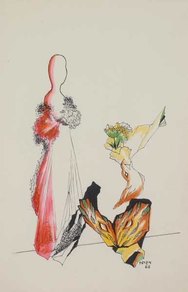 Toyen, L'Oiseau et la femme, 1966